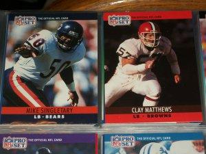 Mike Singletary/Clay Matthews 1990 Pro Set Football Cards