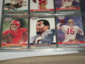 """RARE 1990 Pro Set """"Super Bowl MVP"""" Football Cards- Dawson/Dent/Montana- 3 cards"""