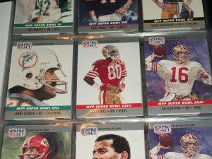 "RARE 1990 Pro Set ""Super Bowl MVP"" Football Cards- Csonka/Rice/Montana- 3 Cards"