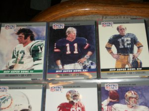"RARE 1990 Pro Set ""Super Bowl MVP"" Football Cards- Namath/Simms/Bradshaw- 3 cards"