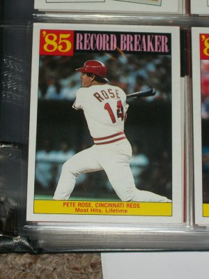 "Peter Rose RARE 1986 Insert- 85 Record Breaker ""Most Lifetime Hits"" baseball card"