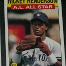 Rickey Henderson 1986 Topps AL ALL-STAR BASEBALL CARD