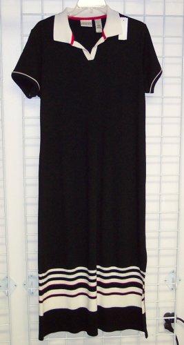 Villager Sport Petite Black Knit Dress Size L 109-356 Once Is Never Enough