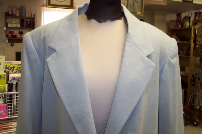 NWT Sag Harbor Powder Blue Single Breasted Blazer Jacket Size 14 101-435 Once Is Never Enough