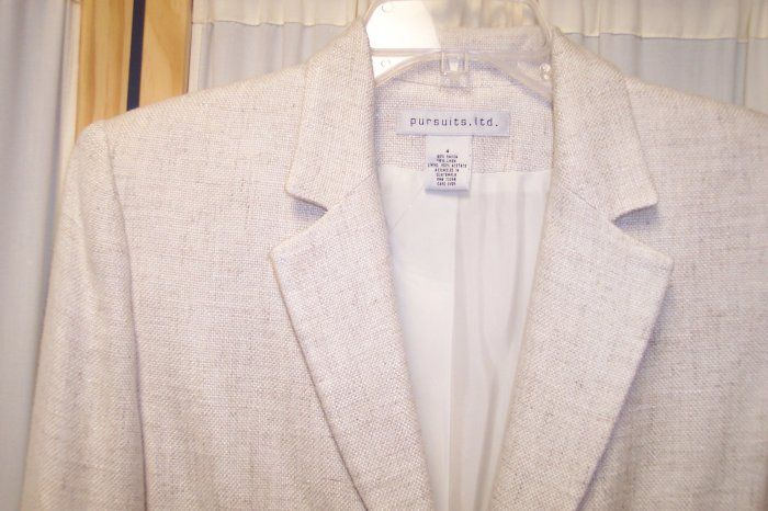 Pursuits Ltd Cream Linen Blazer Jacket Size 4 101-166hjacket Once Is Never Enough