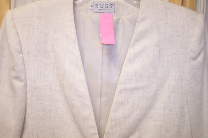Russ Cream Beige Linen Blazer Jacket Size 10 101-417 Once Is Never Enough