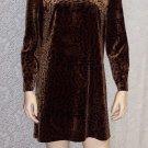 Vintage Carole Little Petites Animal Print Baby Doll Boho Hippie Mini Dress Top ~  Size 10 P 109-387