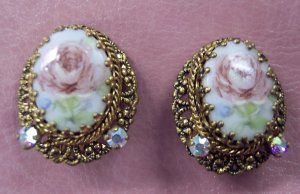 WEST GERMANY Signed Clip Earrings Goldplated Rose Print Vintage Costume Jewelry