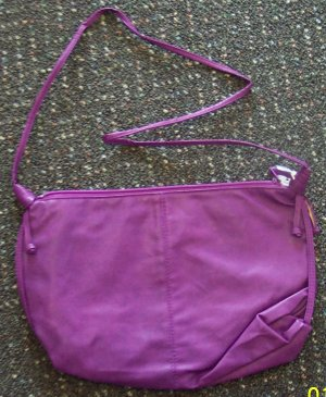 Vintage Purse Handbag Lovely Purple with Single Strap Red Hat Lady locationa1