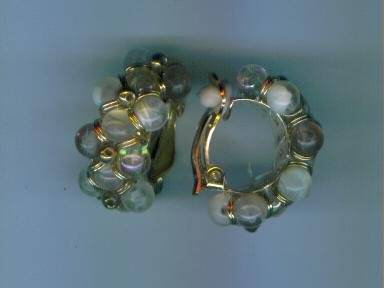 Adorable Vintage Goldtone Beaded Clip Earrings