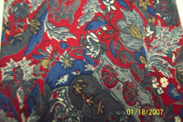 Vintage Christian Dior Men's Mens Necktie Red Blue Green Paisley Fauna Flora 101-1htie location98