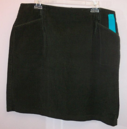 Eddie Bauer Lovingly Preowned Olive Corduroy Mini Skirt Size 18 234-96 Once Is Never Enough
