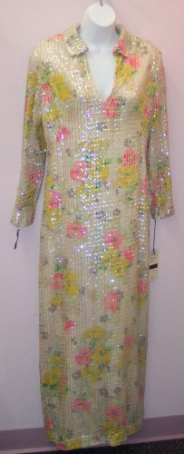 Vintage Lee Jordan, Inc Gown Ivory Floral Sequins Peasant Boho Hippie Dress 101-1hgown