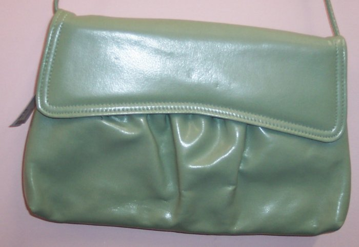 Vintage Sage Vinyl Purse Handbag Clutch 402-596 Once Is Never Enough