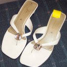 White Fioni Slides Sandals with Large Rhinestone Centerpiece Size 7 101-30h location88