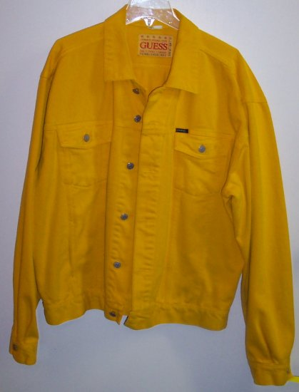 Vintage Yellow Guess Denim Jacket Size 2X XXL 101-1hjacket location95