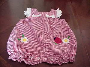 Boutique Little Bitty Infant Gingham Romper Ladybug Size 12 Months NWOT box8