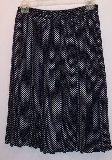 Vintage Chaus Pleated Black White Polka Dot Skirt Size 6 box9