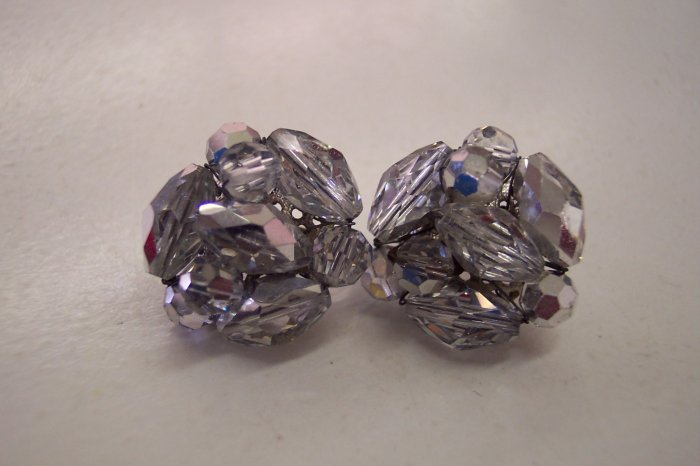 Vogue Silver AB Aurora Borealis Crystal Vintage Clip Earrings Exquistie Shine 101-455