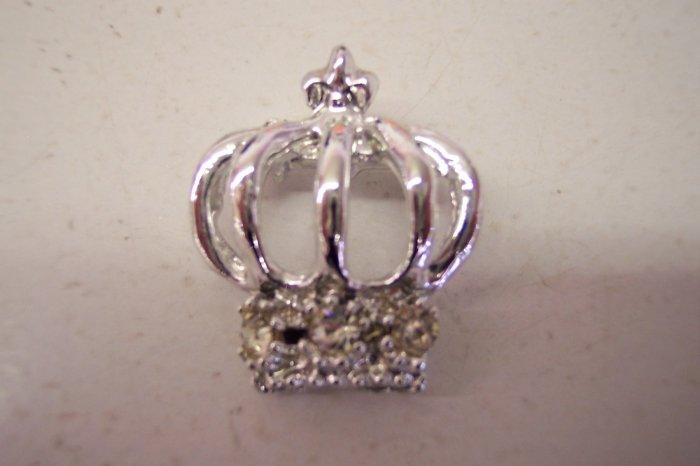 Costume Jewelry Vintage Rhinestone Crown Silver Tone Pin Rhinestones Brooch 101-1452