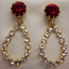 Delicate Vintage Rhinestone Pierced Drop Earrings 147-408