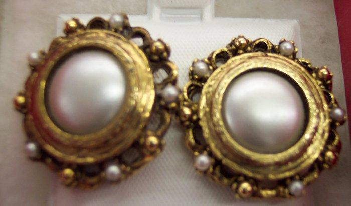Vintage Antique Goldtone Pierced Button Earrings Faux Pearls 101-461