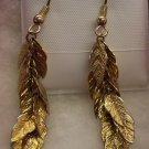 Vintage Pierced Drop Feather Goldtone Earrings 109-297 Costume Jewelry Altered Art