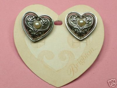 Retired Brighton Silver Pearl Gracious Hearts Post Earrings New on Original Card 101-3891
