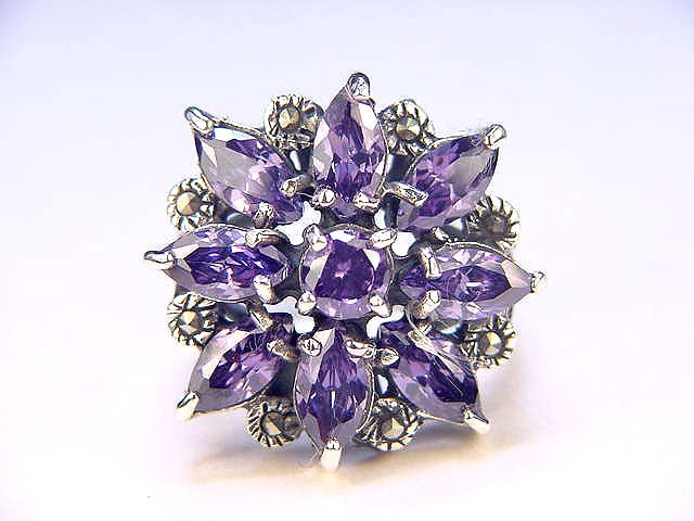 6 CT Amethyst Elegant Antique Style Ring Sterling 925 Size 8.5