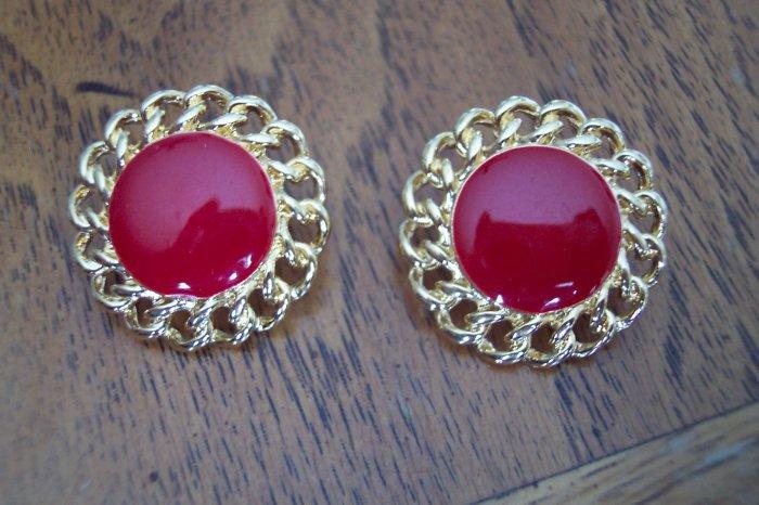 Vintage NAPIER Goldtone Red Enamel Pierced EARRINGS 101-3778 Costume Jewelry