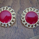 Vintage NAPIER Goldtone Red Enamel Pierced EARRINGS 101-3778 Costume Jewelry