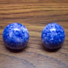 Vintage Metal Sponge Painted Button Pierced Earrings Blue White 109-283 Costume Jewelry Altered Art