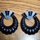 Vintage Pierced Enamel and Faux Marcasite Door Knocker Earrings 101-2156
