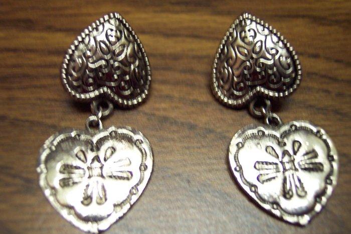 Vintage Pierced Silvertone Double Heart Earrings 101-001ear Costume Jewelry Altered Art