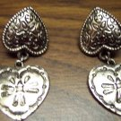 Vintage Pierced Silvertone Double Heart Earrings 101-001ear Costume Jewelry Altered Art
