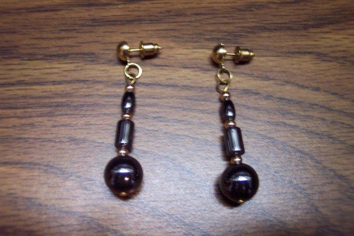 Vintage Shiny PIERCED Drop Black Metallic MALACHITE Earrings 109-264 Costume Jewelry