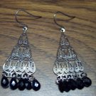 Vintage Pierced CHANDELIER Silvertone with Black Bead EARRINGS 101-3815