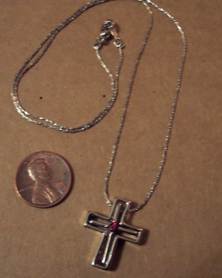 Vintage 18KGP White Gold Plated Cross Ruby Accent Necklace Pendant