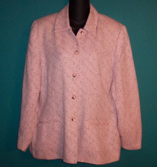 Sag Harbor Pink Black Tweed Jacket Blazer Size 14 101-15hjacket