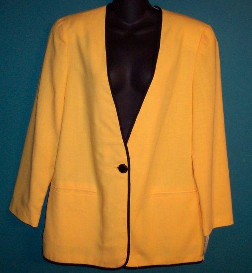 The Villager Sporty Yellow Black Trim Jacket Blazer Size 14 - 16 101-14hjacket