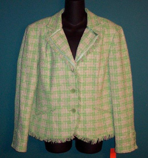 Apt 9 Green Pink Tweed Fringe Blazer Jacket Size 14 101-134jacket Once Is Never Enough