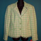 Apt 9 Green Pink Tweed Fringe Blazer Jacket Size 14 101-134jacket Once Is Never Enough