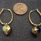 Vintage Unique Reversible Goldtone PIERCED EARRINGS 101-006ear Costume Jewelry