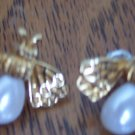 Vintage BEE Goldtone Pierced EARRINGS 101-3777 Altered Art  Great Detail