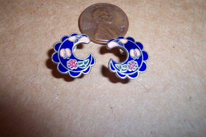 Vintage Enamel CLOISONNE PIERCED EARRINGS 101-005ear Costume Jewelry