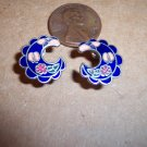 Vintage Enamel CLOISONNE PIERCED EARRINGS 101-005ear Costume Jewelry