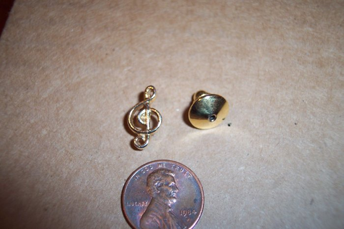 Vintage Musical Note Lapel Tac Pin 101-4076 Costume Jewelry