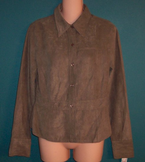 Vintage So...GSJC Olive Green Blouse Top Jacket ~ Size L ~ 730-7