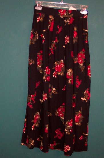 Charter Club Petites Floral Print Black Full Pleated Skirt ~ Size 2 P Petite ~ ws-15 box9