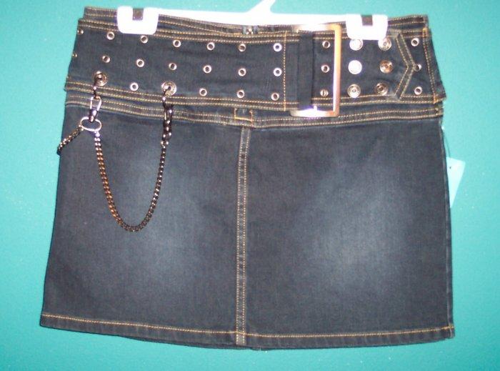 No Boundries NWOT Dark Denim Punk Grunge Mini Skirt 5 Small S Urban Retro location9